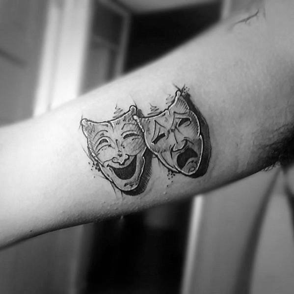 Small Detailed 3d Inner Arm Drama Mask Mens Tattoo Designs