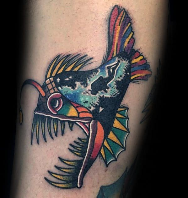 Small Detailed Angler Fish Male Tattoo Ideas With Colorful Design