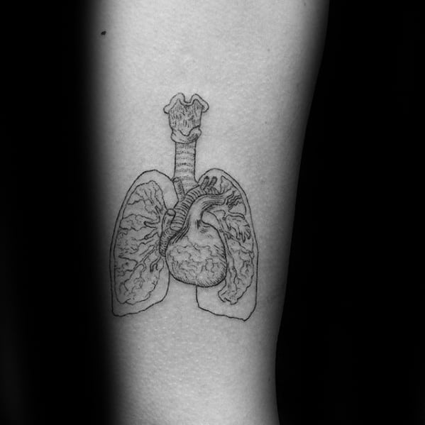 Small Detailed Arm Lung Guys Tattoo Ideas