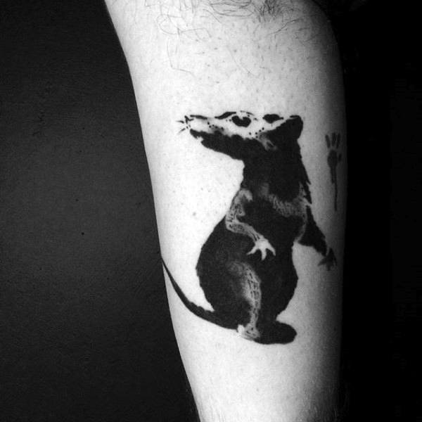 Small Detailed Banksy Rat Mens Arm Tattoos