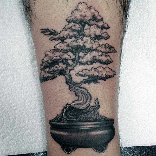 Small Detailed Bonsai Tree Leg Tattoos For Men