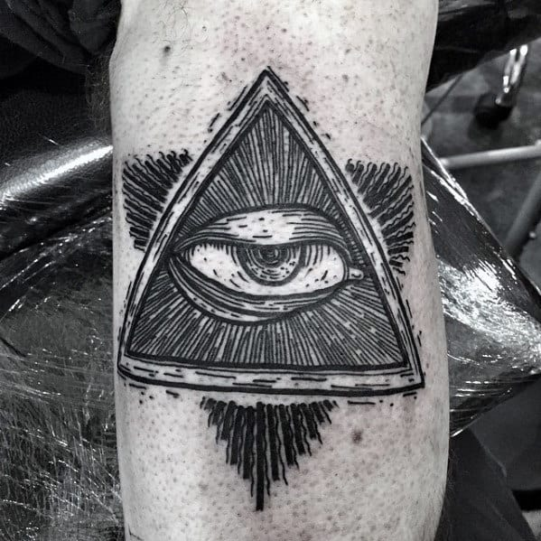 Small Detailed Guys Eye Of Providence Arm Tattoo