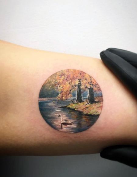Small Detailed Guys Lake Tattoo Designs