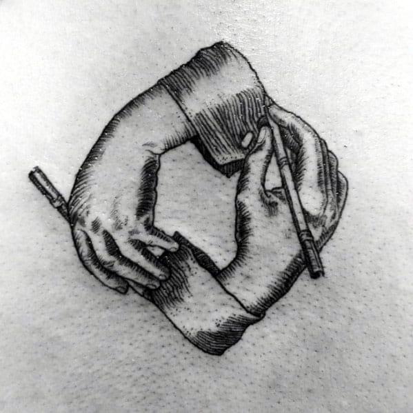 Small Detailed Guys Tattoos With Mc Escher Design