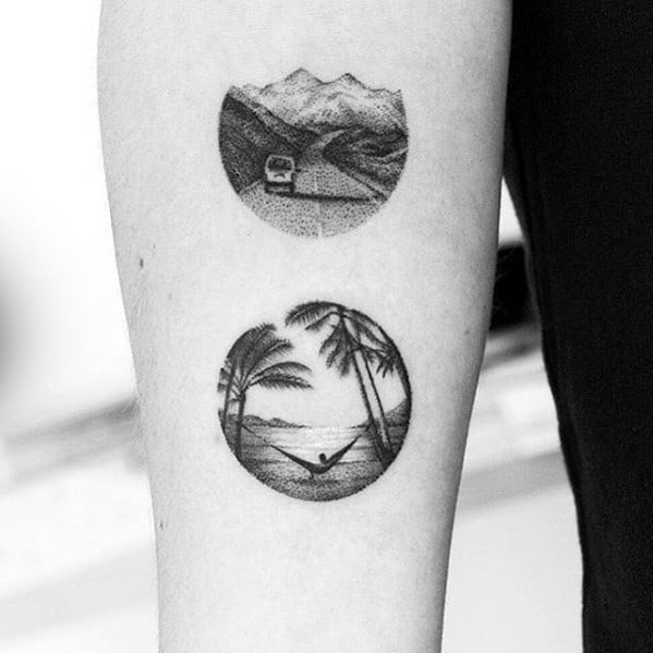Small Detailed Mens Beach Scene Inner Forearm Tattoo