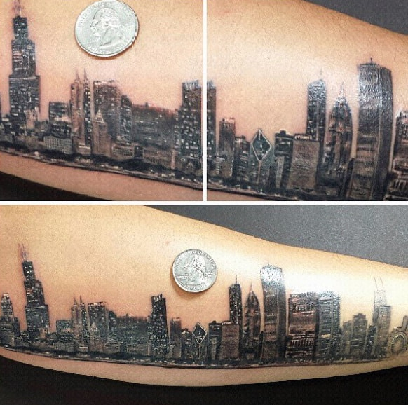 Small Detailed Mens Forearm Chicago Skyline Tattoos