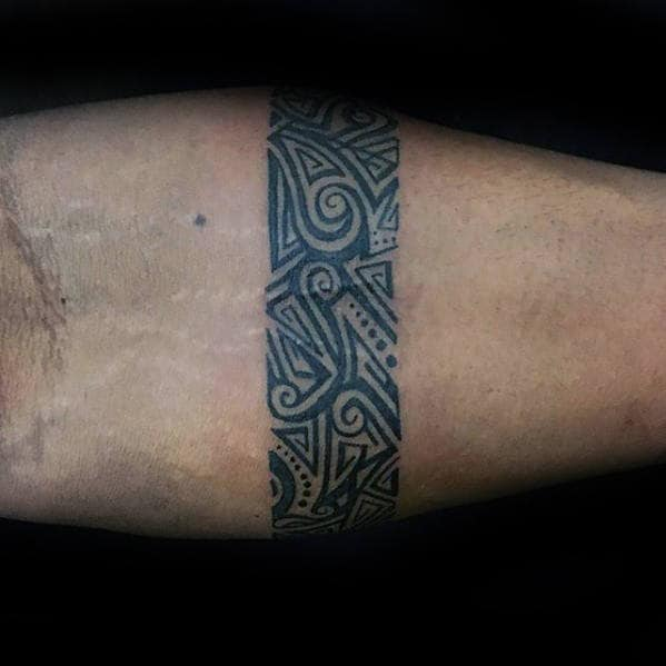 Small Detailed Ornate Mens Forearm Band Tattoos