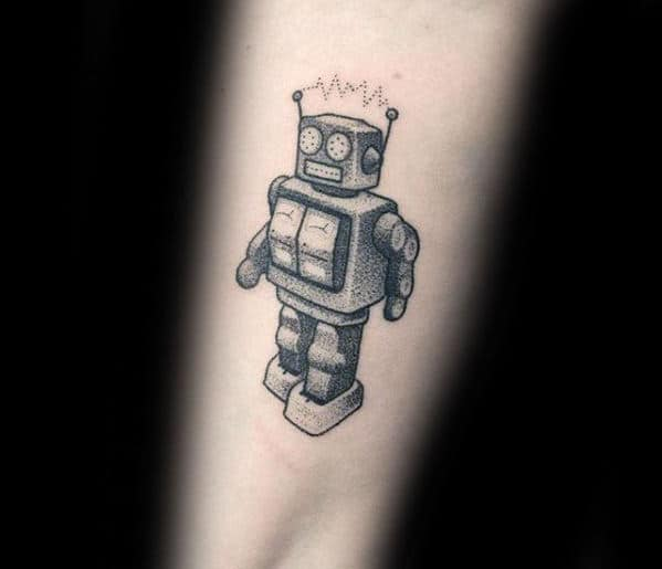 Small Detailed Robot Awesome Mens Forearm Tattoo
