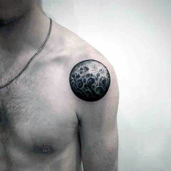 Small Detailed Shoulder Guys Realistic Moon Tattoo