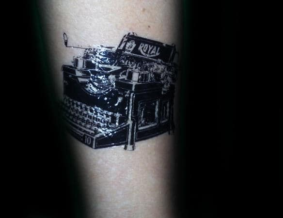 Small Detailed Typewriter Tattoo On Gentleman
