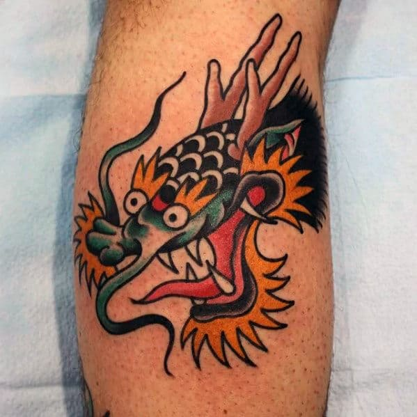 Small Dragon Head Guys Traditional Leg Calf Tattoo Ideas