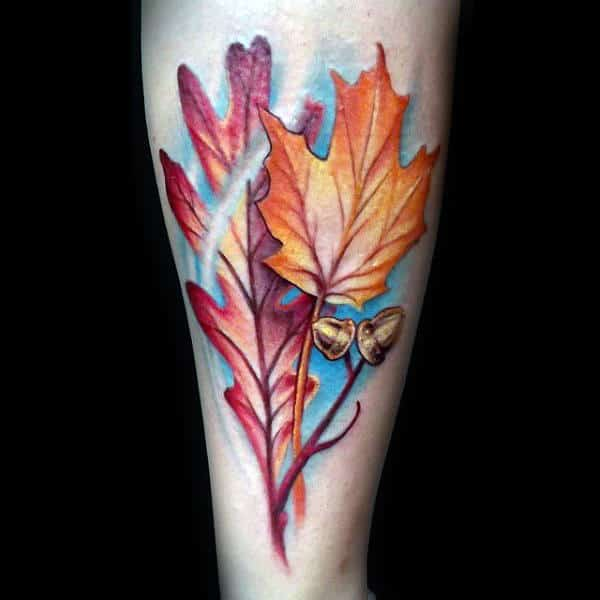 Small Fall Leaves Guys Forearm Tattoo Ideas