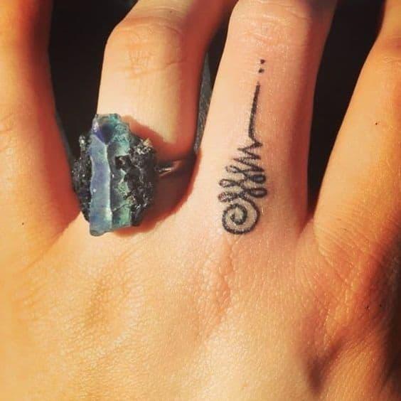 Small Finger Unalome Tattoo