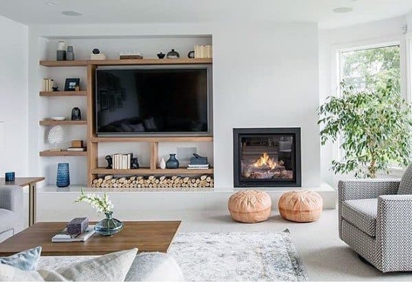 Small Fireplace Television Wall Design Inspiration
