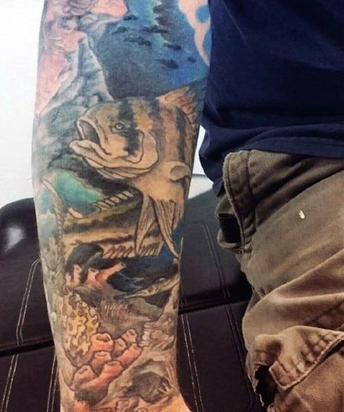 Incredible Sleeve Fish Men's Tattoos