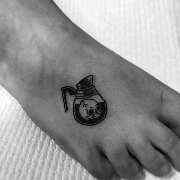 Small Foot Guys Coffee Tattoo Design Idea Inspiration