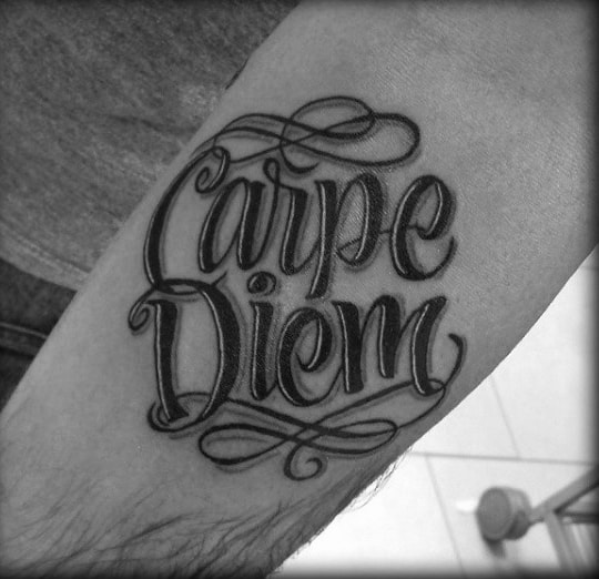 Small Forearm Carpe Diem Tattoos For Men