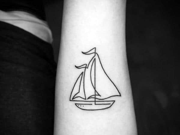 Small Forearm Continous Line Sailboat Tattoo For Men