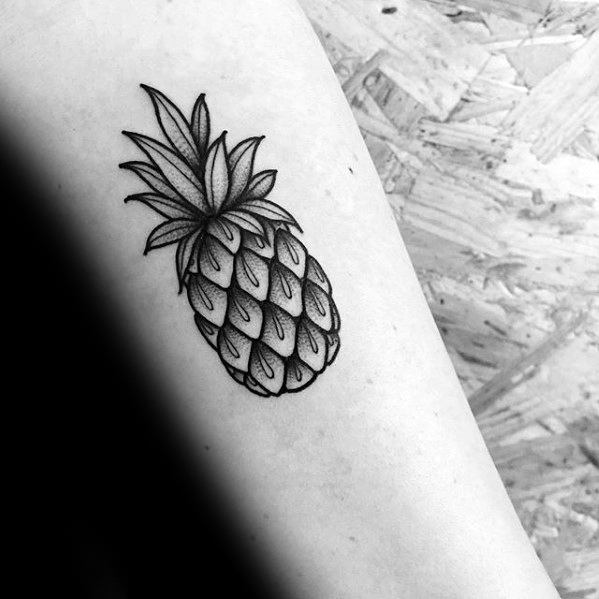 Small Forearm Shaded Guys Pineapple Tattoo Deisgns