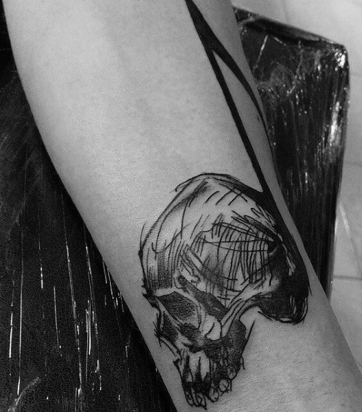 Small Forearm Sketched Skull Guys Death Note Tattoos