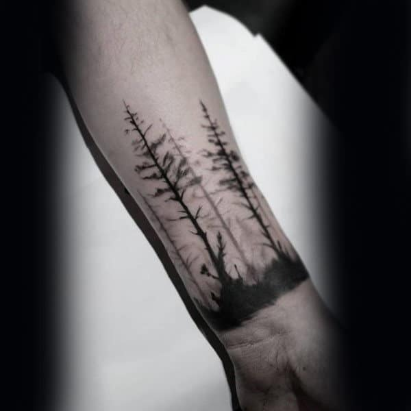 Small Forearm Tree Mens Tattoo Near Wrist