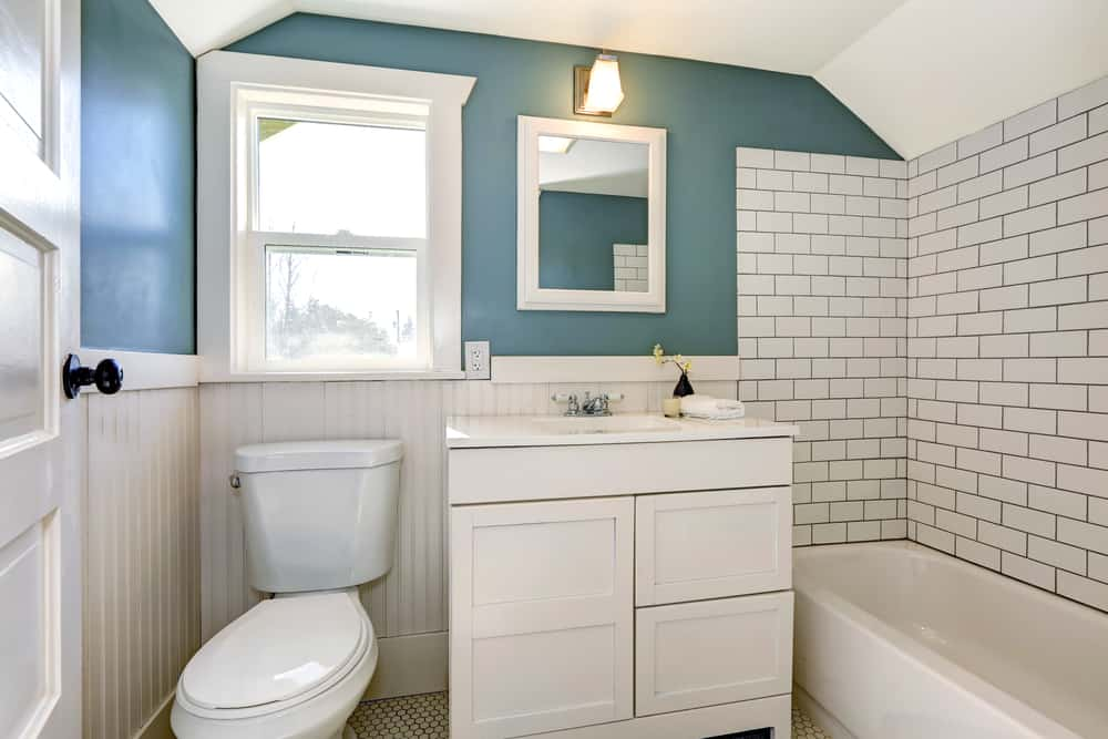 muted color small bathroom paint ideas