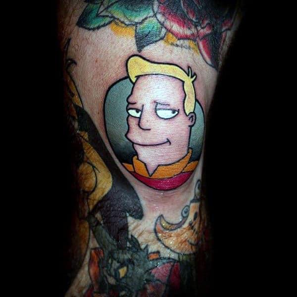 Small Futurama Zapp Brannigan Male Tattoo Ideas
