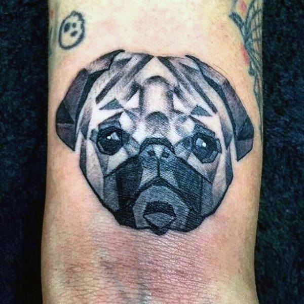 Small Geometric Dog Wrist Tattoos For Guys