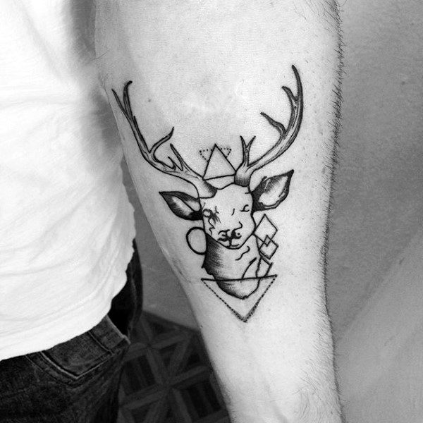 Small Geometric Moose Mens Inner Forearm Tattoo Ideas