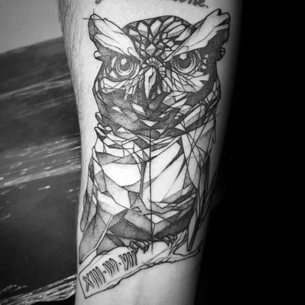 Small Geometric Owl Mens Inner Forearm Tattoo