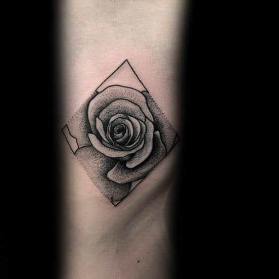 Small Geometric Rose Dotwork Guys Tricep Tattoos