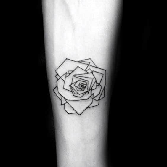 Small Geometric Roses Male Inner Forearm Tattoo Design Ideas