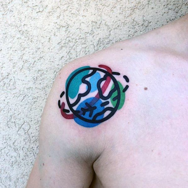 Small Globe Mens Colorful Shoulder Tattoo Ideas