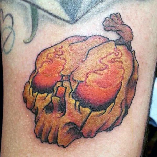 Small Glowing Mens Arm Pumpkin Tattoo Designs