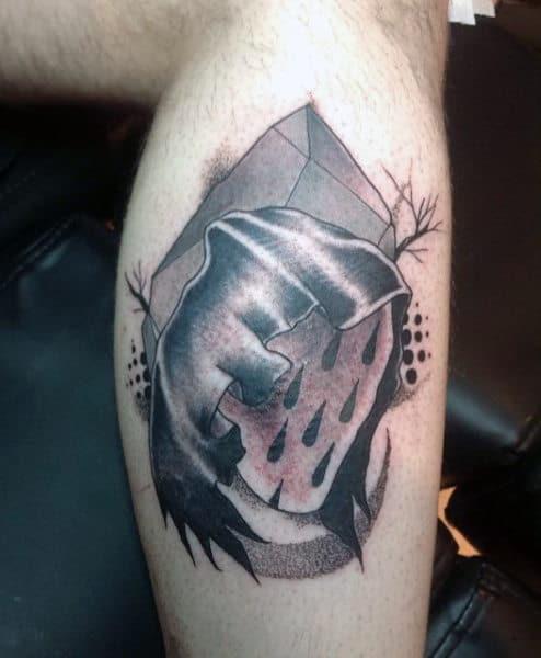 Small Grim Reaper Tattoo For Men On Leg