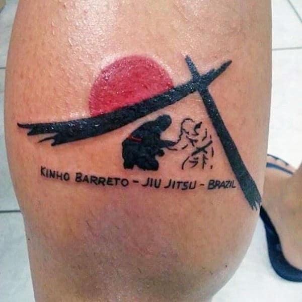 Small Guys Awesome Jiu Jitsu Leg Calf Tattoo