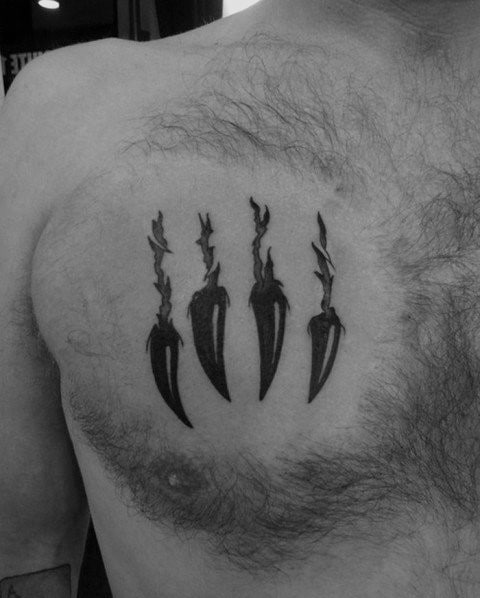 Small Guys Bear Claw Torn Skin Chest Tattoo