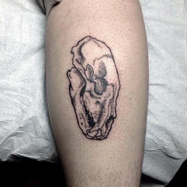 Small Guys Bear Skull Tattoo Design On Leg Calf