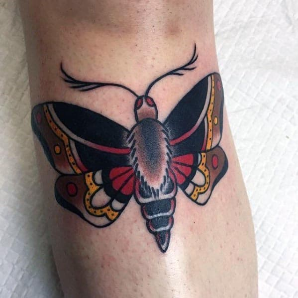 Small Guys Black Red And Yellow Moth Traditional Leg Tattoo
