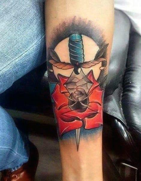 Small Guys Celtic Sword Tattoos On Inner Forearm