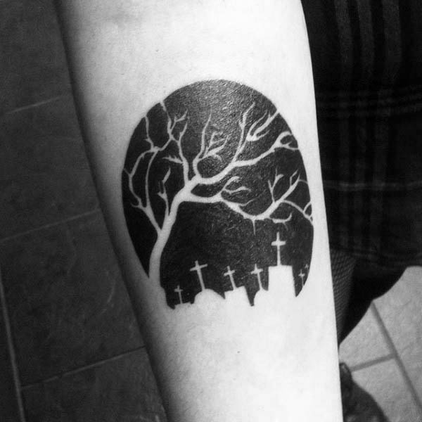 Small Guys Cemetery Negative Space Tattoo With Graves And Tree Night Theme
