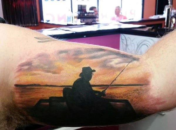 Sunset Small Guy's Fish Hook Tattoo Designs