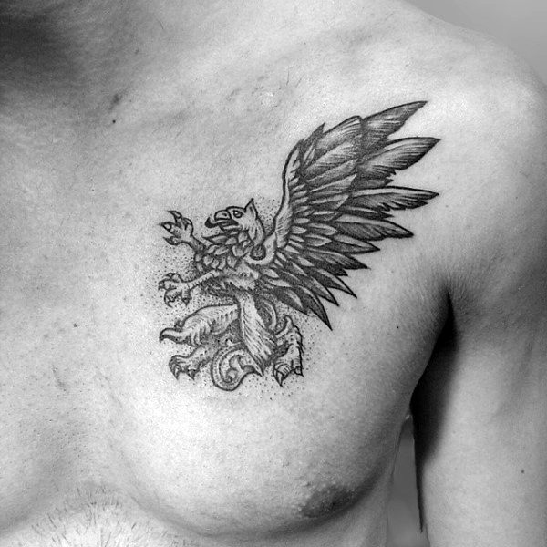Small Guys Griffin Chest Tattoo