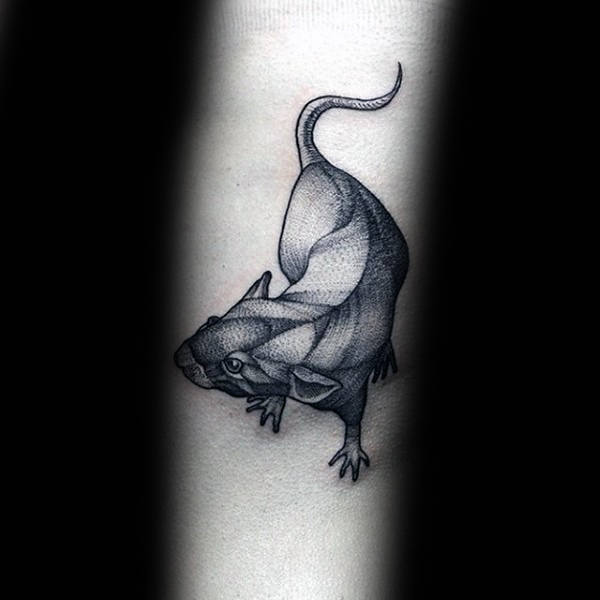 Small Guys Rat Tattoo With Dotwork Design