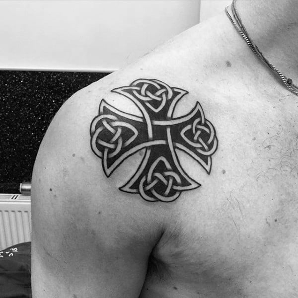 Small Guys Shoulder Celtic Knot Cross Tattoos