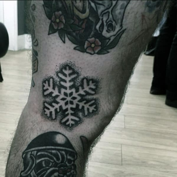Small Guys Snowflake Lower Leg Tattoos