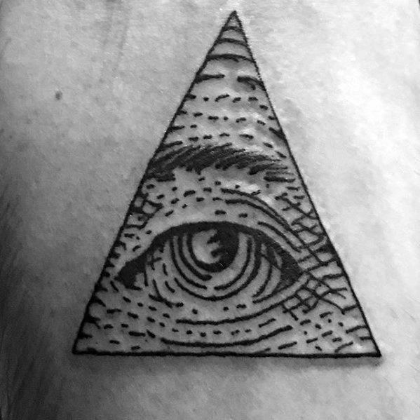 Small Guys Traditional Eye Of Providence Tattoo On Back