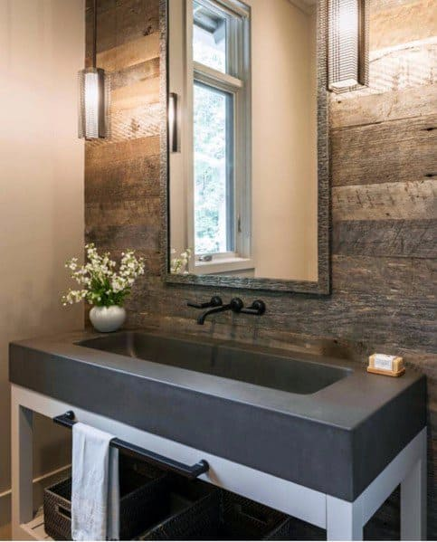 Small Half Bathroom Old Barn Wood Wall Ideas
