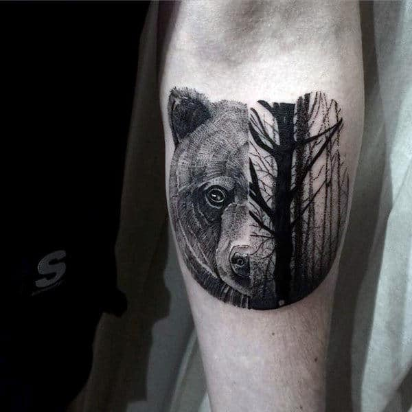 Small Half Bear Half Forest Trees Guys Animal Tattoos