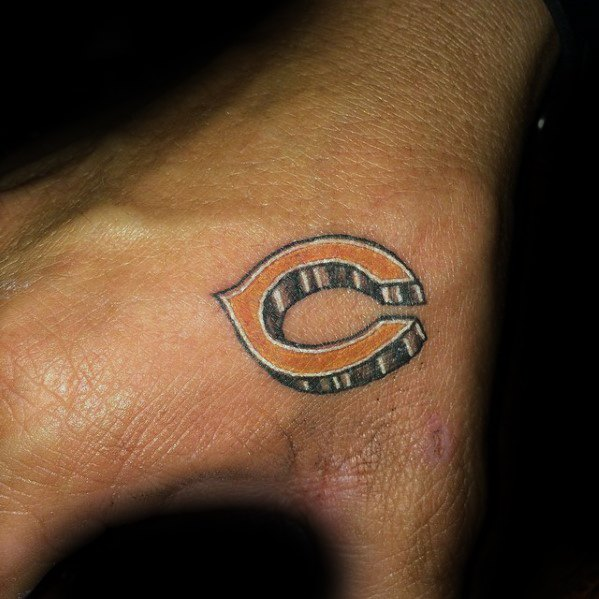 Small Hand Mens Tattoo Chicago Bears Design